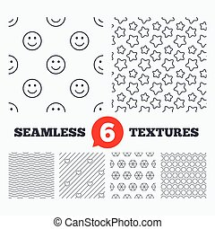 Stars, hearts and smile circles textures.