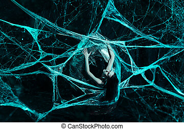 Girl in spiders web - Girl like a spider getting out from...