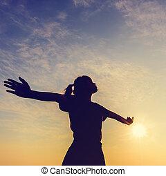 Young woman enjoying beautiful