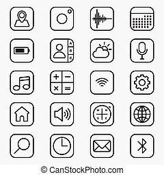 Set of mobile applications outline style icon vector illustration