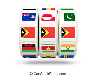 Slots with flag of east timor isolated on white 3D...
