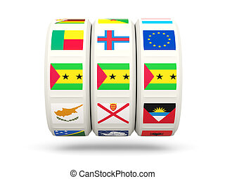 Slots with flag of sao tome and principe isolated on white...