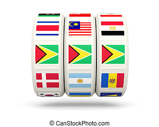 Slots with flag of guyana isolated on white 3D illustration