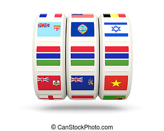 Slots with flag of gambia isolated on white 3D illustration