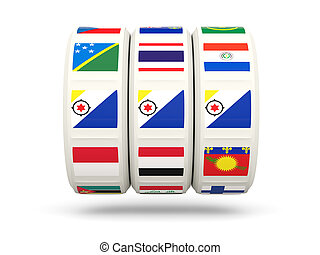 Slots with flag of bonaire isolated on white 3D illustration...