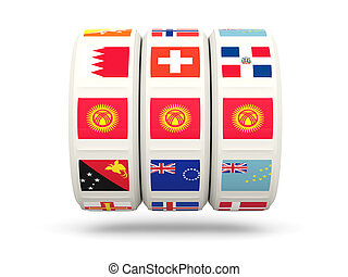 Slots with flag of kyrgyzstan isolated on white 3D...
