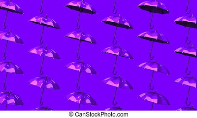 Purple Umbrellas On Purple Background. Loop able 3DCG render...