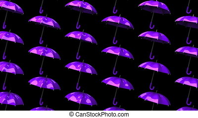 Purple Umbrellas On Black Background. Loop able 3DCG render...