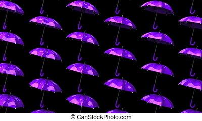 Purple Umbrellas On Black Background. Loop able 3DCG render...