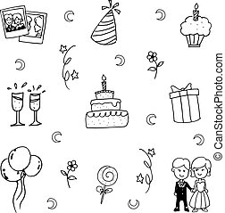 Doodle vector art party element hand draw