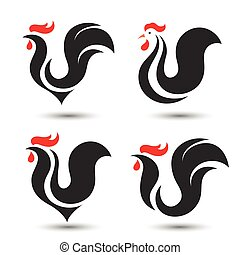 Chicken - Rooster and cock design symbol on white background...