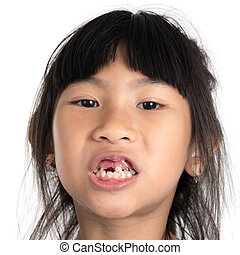 6 years old child has lost the baby tooth The girl is...