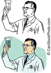 Scientist with Glass Beaker