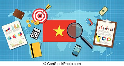 vietnam economy economic condition country with graph chart...