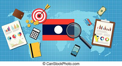 laos economy economic condition country with graph chart and...