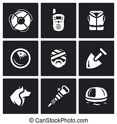 Vector Set of Search and Rescue service Icons - Service of...