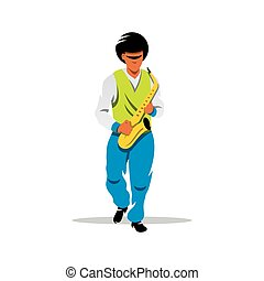 Vector Saxophonist Cartoon Illustration - Man plays music on...
