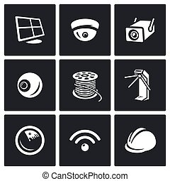 Vector Set of Security Installation Icons. Computer,...
