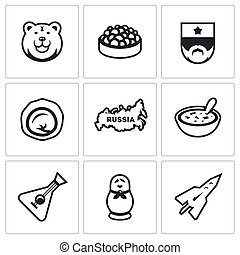 Vector Set of Russia Icons - Symbols of Russian country,...