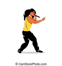 Vector Rap Battle Boy Cartoon Illustration - Man with...