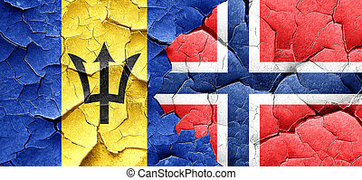 Barbados flag with Norway flag on a grunge cracked wall