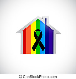 black ribbon over a pride rainbow flag home. illustration...