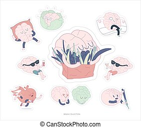 Brain stickers feed and leisure set, - Brain sticker feed...