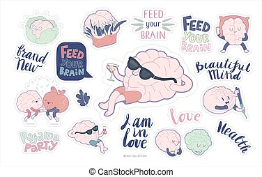 Brain stickers feed and leisure set - Brain sticker feed and...