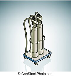 Oxygen Cylinder part of the Hospital Hardware Isometric 3D...