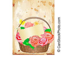 basket of roses with a letter