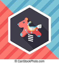 playground toy horse flat icon with long shadow,eps10