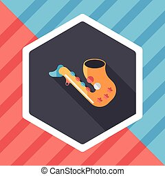 saxophone flat icon with long shadow, eps10