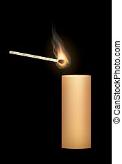 a candle with a match