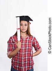 Estudiante, gorra,  Diploma, graduación