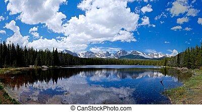 nubes, nieve, lago, Terminar, reflexiones, montañas, alpino