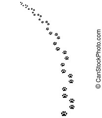 Trail of dog, turn left, vector