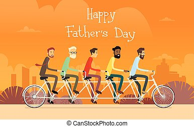 Father Day Holiday, Man Group Generation Ride Tandem Bicycle...