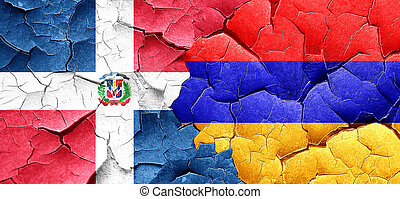 dominican republic flag with Armenia flag on a grunge...