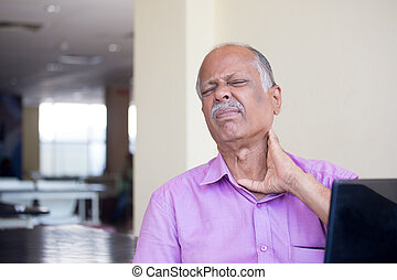 Neck sprain and pain - Closeup portrait, elderly gentleman...
