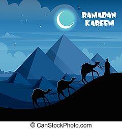 Desert Night Egypt Pyramids Camel Caravan Flat Vector...