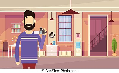 Man Blogger Hold Camera Office Interior Video Blogging...