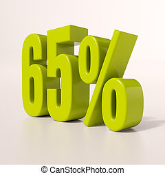 Percentage sign, 65 percent - 3d render: green 65 percent,...