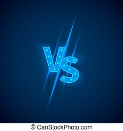 Blue neon versus logo vs letters for sports and fight...
