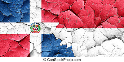dominican republic flag with Indonesia flag on a grunge...