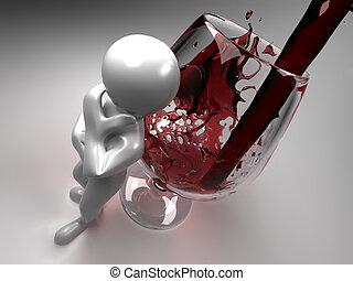 Men with glass of wine