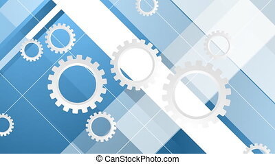 Blue minimal video animation with gears mechanism - Blue...