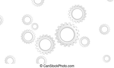 Grey paper tech gears mechanism video animation - Grey paper...