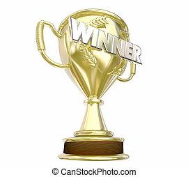 Winner Gold Trophy Award Prize Word 3d Illustration