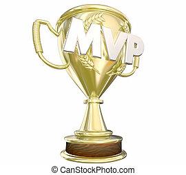 MVP Most Valuable Player Gold Trophy Award 3d Illustration