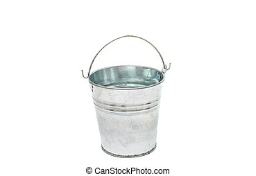 The empty zinced bucket - bucket on a white background